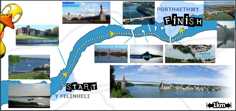 Image of the route of the Menai Bridge Raft Race